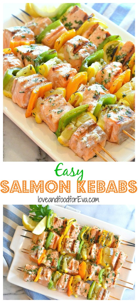 Enjoy warmer temperatures by firing up your grill and making these super Easy Salmon Kebabs - healthy, fast, so delicious!!