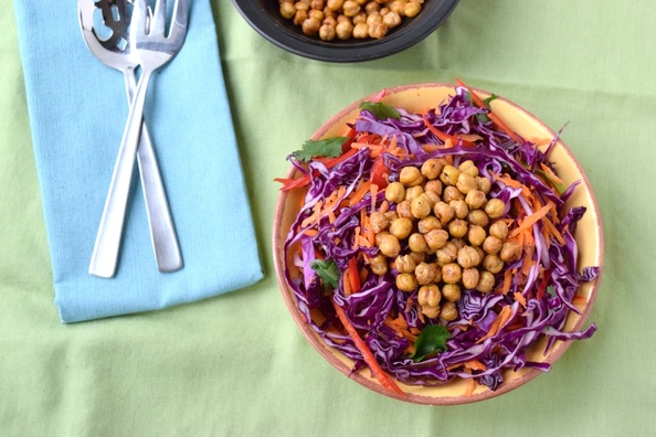 Love and Cumin-Lime Cabbage Salad with Roasted Spiced Chickpeas