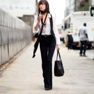 street-style-shirt-tiny-scarf-flare-pants