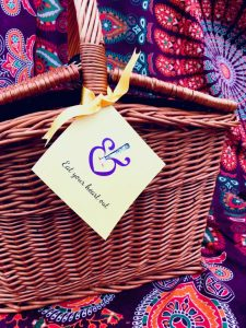 wicker picnic basket with tags
