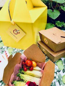 yellow cardboard picnic box