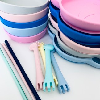 Silicone Tableware- Suction Plates & bowls, silicone bibs, spoons & sporks