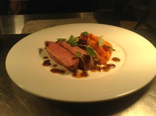 Duck breast and sweet potato puree, smoked chicory and passion fruit sauce.
