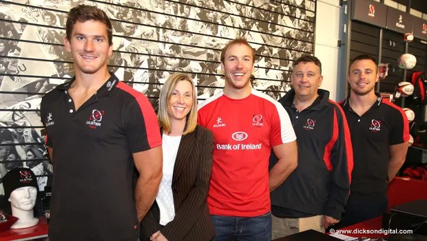 (Pictured at the Ulster Rugby Shop are: Robbie Diack, Fiona Hampton, Head of Sales and Marketing, Ulster Rugby, Stephen Ferris, Terry Jackson of Kukri Sports and Tommy Bowe)