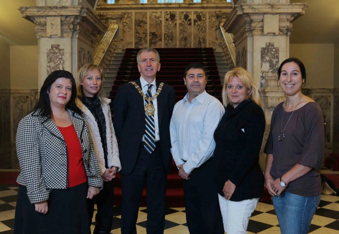Lord Mayor of Belfast with business tourism buyers Veronique Antrope (France), Jorge Baeza (Spain), Geraldine Huybrechts (Belgium) and Tina Tarara (Germany).