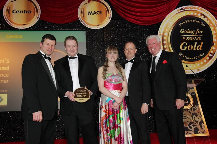 McGoveran's Centra Malone Road won Gold in the High Convenience category at Musgrave's annual Store of the Year awards on Friday night at the Slieve Donard Hotel, Newcastle. Pictured is Store Manager Jamie Purdy, Deli Manager Kerry-Anne Bresnehan with Centra Sales Director Nigel Maxwell, host Roy Walker and sponsor Tim Gault from Kerry Foods.