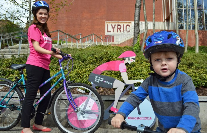 Little Daniel Moriarty (3) and Claire Cassidy gear up for the Family Fun Day event at the Lyric Theatre on Fri 9 May which has prime race-side views of the Giro d'Italia.