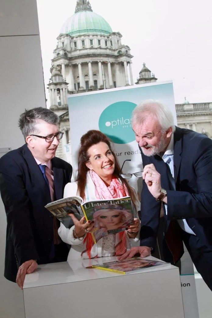 Ulster Tatler Awards in association with Optilase Eye Clinic. Pictured along with Tim are Managing Director of Therapie Optilase, Tracy Gilligan and Editor of the Ulster Tatler Chris Sherry.