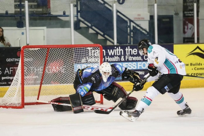 Scott Wiggins Photography Photo: Ray Sawada of the Belfast Giants goes 'one-on-one' with Coventry netminder Brian Stewart