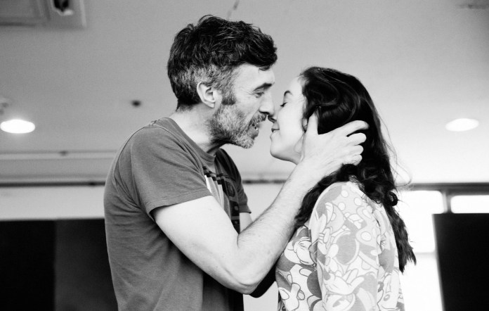 Mark O'Halloran and Amy McAlister in rehearsal for The Shadow of a Gunman
