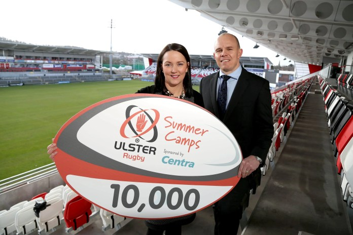 Announcing the sponsorship deal is Centra's Jennifer Morton and Ulster Rugby's Business Development Manager, Philip Polack.