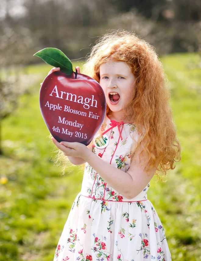 Chloe O'Neill gets ready to take a big bite out of the Armagh Apple Blos...