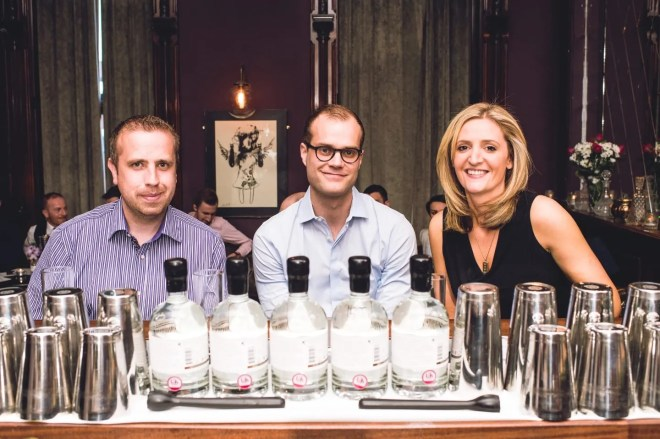 3.Shortcross Signature Serve judges, David Boyd-Armstrong, head distiller with Olivier Ward (centre), Gin Foundry and Caroline Ward, Belfast Food Tours, pictured at the Shortcross Signature Serve event in Sixty6 Belfast.