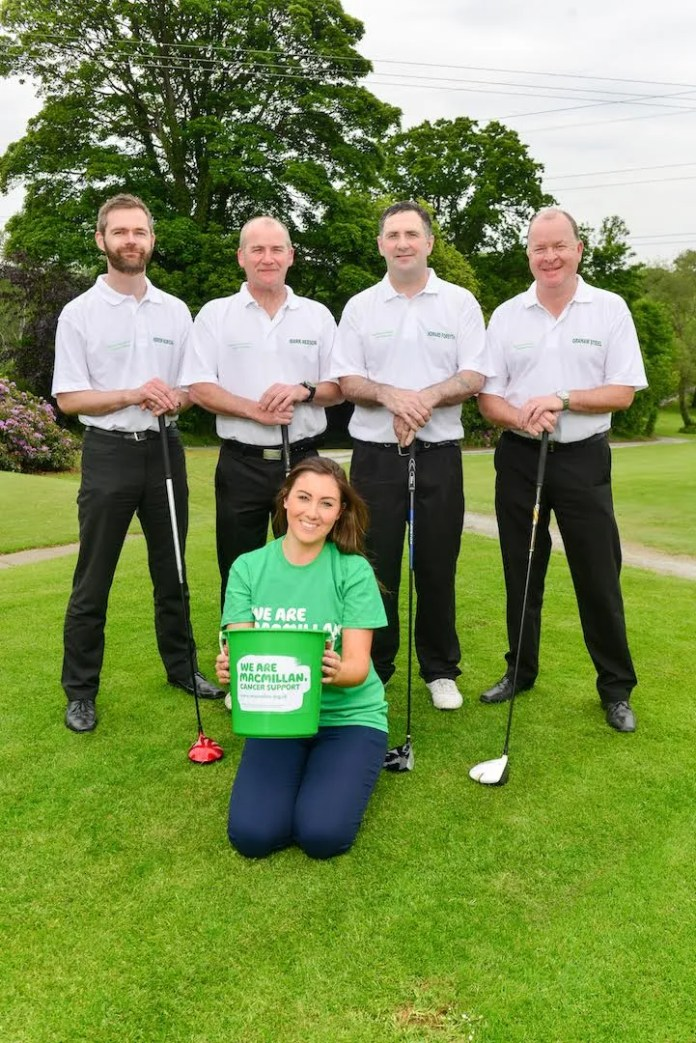 Can these four boys play 72 holes in one day? Andrew McMichael, Mark Neeson, Howard Forsythe, Graham Steel from Brakes Foodservice tee up ahead of their Longest Day Golf Challenge which will see the quartet take advantage of one of the longest days of the year (Monday 22nd June) to play a 16 hour game of golf in aid of Macmillan Cancer Support. The group will be cheered on by Courtney Radcliffe, Brakes Marketing Manager who is encouraging people to donate viajustgiving.com/brakeslongestday2015