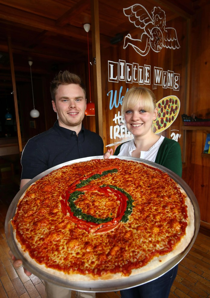 Luke Wolsey, managing director, Little Wing Pizzeria and Catherine MacDonald, general manager of Little Wing Enniskillen announce the opening of Little Wing's sixth restaurant