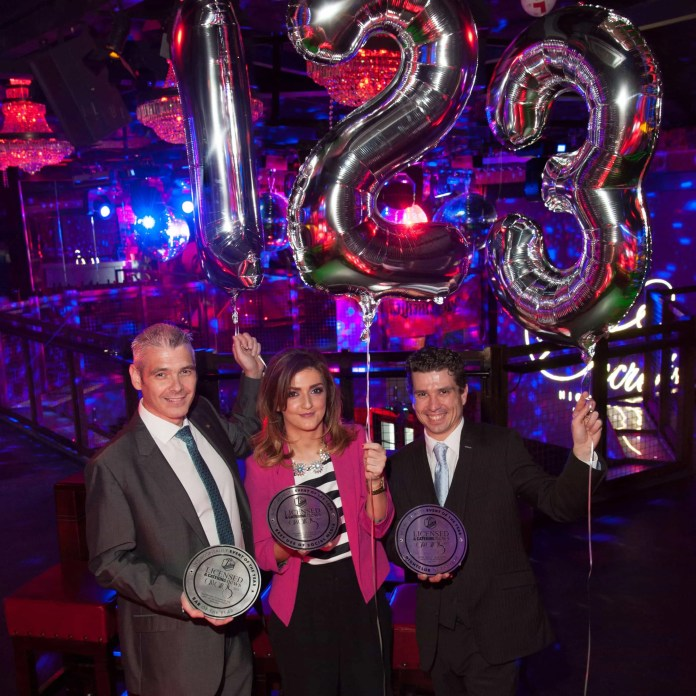 Magherafelt has been recognised for its hospitality at the recent LCN Awards.  Mary's Bar was voted Best Bar in Northern Ireland.  Secrets Nightclub picked up Best Social Media and Best Nightclub.  Pictured are Thomas Doherty, manager of Mary's; Catherine Donnelly, Marketing Manager and Nathan Evans, manager of Secrets Nightclub.