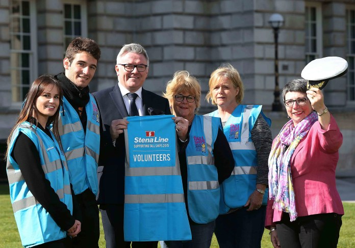 Leading ferry company Stena Line are the official sponsors of the Tall Ships volunteers 2015 and pictured at the announcement  are (L-R) Lyndsay Malone (Volunteer), Francisco Lorumbe (Volunteer), Mark Casey (Marketing Manager, Stena Line), Jo Glancy (Volunteer), Eleanor Lewis (Volunteer) and Wendy Osborne OBE (Chief Executive, Volunteer Now). To celebrate, Stena Line will be hosting a special marquee and will offer customers special deals and a prize draw. The Tall Ships is set to be one of the most exciting maritime events of the year and over 535 volunteers have been recruited to undertake ship-specific liaison roles as well as event management, media support, customer servicing and volunteer support.