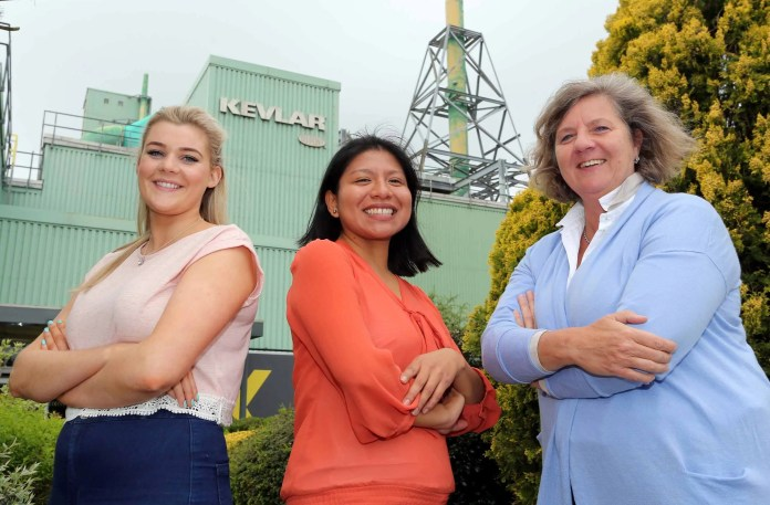 """June 23 is National Women in Engineering day and three female engineers from DuPont, (l to r) Emma Smith, Mechanical Engineer Student, Petra Grashoff, Plant Manager and Diana Diez-Conseco Riess, Process Engineer, celebrated the achievements of women in engineering by inviting 70 pupils from girls' schools across Derry~Londonderry to the plant for an inspirational day of learning.  The event was hosted by Petra Grashoff, the first female plant manager in DuPont Maydown's 50 year history.  Petra said:  """"It is important to change the traditional thinking that a job in engineering is considered something that men do and not for the girls.  It's vital that young women are encouraged to take more of an interest in the STEM (science, technology, engineering, mathematics) subjects at school and I hope that by showing them that a career in engineering is rewarding with fantastic prospects, that they will choose a job in this field."""""""