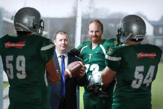 Barry Kiel (right), Chairman of the Belfast Trojans is pictured looking forward to the team being in the limelight at the final of this year's Shamrock Bowl supported by Rod McCrory, representative of team sponsor Budweiser.