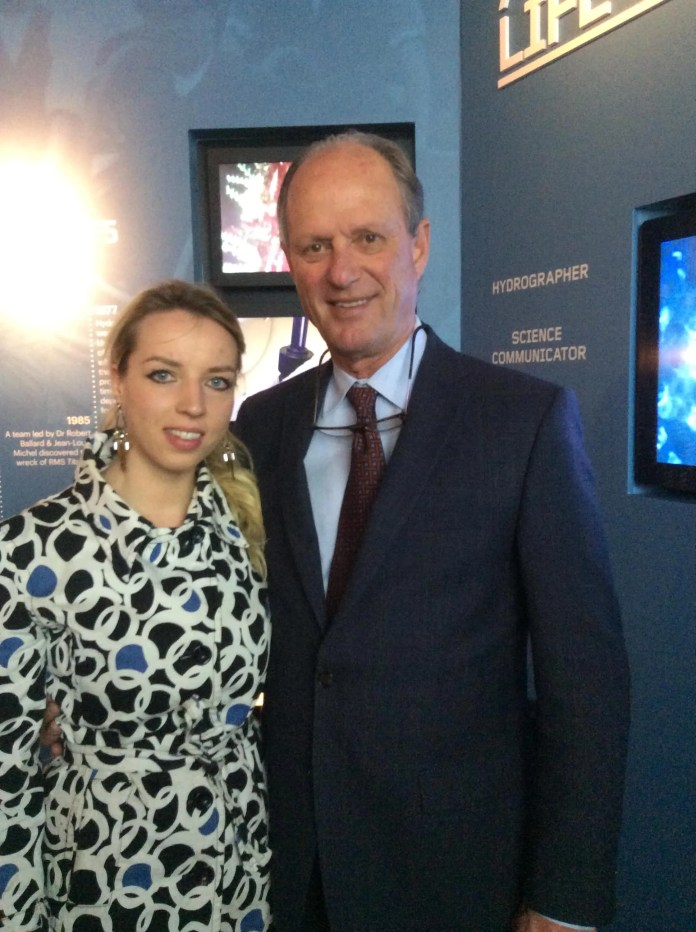 Dr Robert Ballard at Titanic Belfast with Inga Norviltye Love Belfast