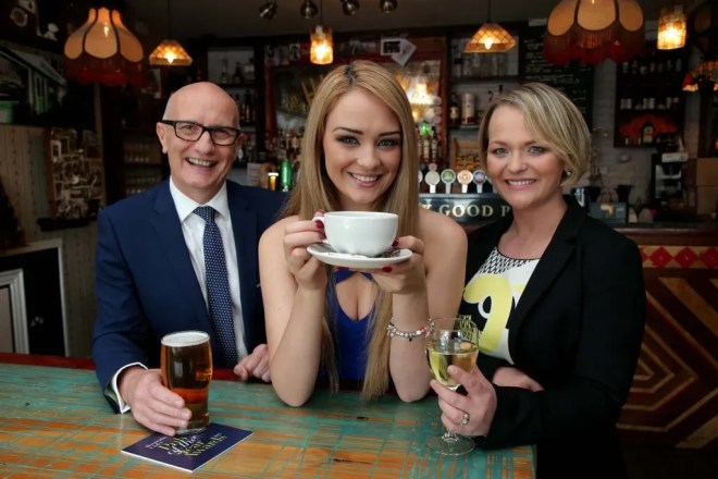 Pictured L-R: Colin Neill, CEO Hospitality Ulster; model Ashleigh Coyle and Olga Walls, Chair, Hospitality Ulster at the official launch of the 2015 Pub of the Year Awards at The Hudson Bar, Belfast. Picture by Darren Kidd/