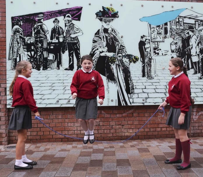 Children from St Mary's Primary School,Selena Mongan, Helen McDonagh (Jumping) & Candice Ward show off their skipping