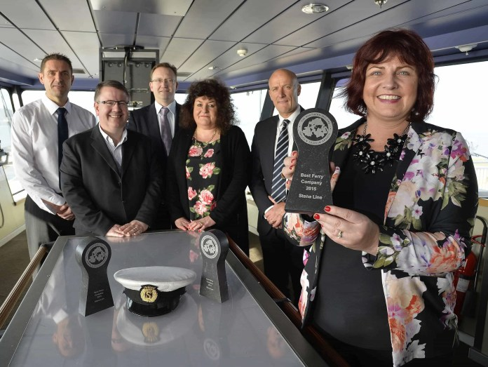 Elaine McShane, Stephen Bryden, Heather Gawley, Neil Palmer, Ian Baillie and Vincent Hughes of Stena Line are pictured celebrating after the leading ferry company won top ferry company for a record-breaking 23rd time at the annual Northern Ireland Travel and Tourism Awards. The 'Best Ferry Company' award was presented to Paul Grant, Route Manager, Irish Sea North for Stena Line at the awards ceremony at the Slieve Donard Resort and Spa in Newcastle. Stena Line is the market leader on the Irish Sea, offering the biggest fleet and the widest choice of routes from Ireland to Britain, including Belfast to Cairnryan, Belfast to Liverpool, Dublin Port to Holyhead, Rosslare to Cherbourg and Rosslare to Fishguard. The company carries approximately three million passengers on its Irish Sea routes each year, more than its rival ferry operators combined. For more information on Stena Line go to www.stenaline.co.uk or call Stena Line on 08447 70 70 70.