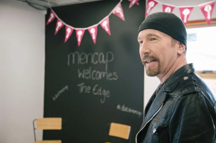 Mencap Ambassador The Edge visited Mencap's new centre, which will provide support for children with a learning disability and their families. The new centre will open on the former site of the Newtownbreda Primary School.