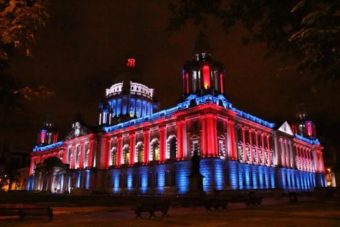 Belfast City Hall goes Blue, White and Red