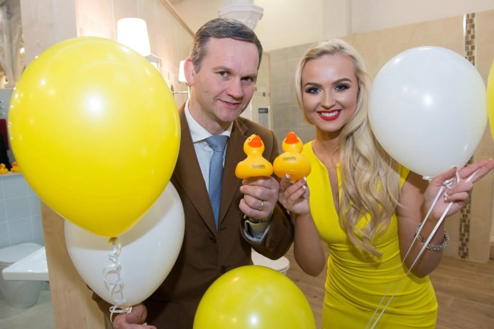 Pictured at the official launch of the redesigned Bassetts Bathroom Centre at Victoria Road in Derry-Londonderry are, Leeann McDowell, Miss Northern Ireland, Alan Wright, Managing Director, Bassetts.