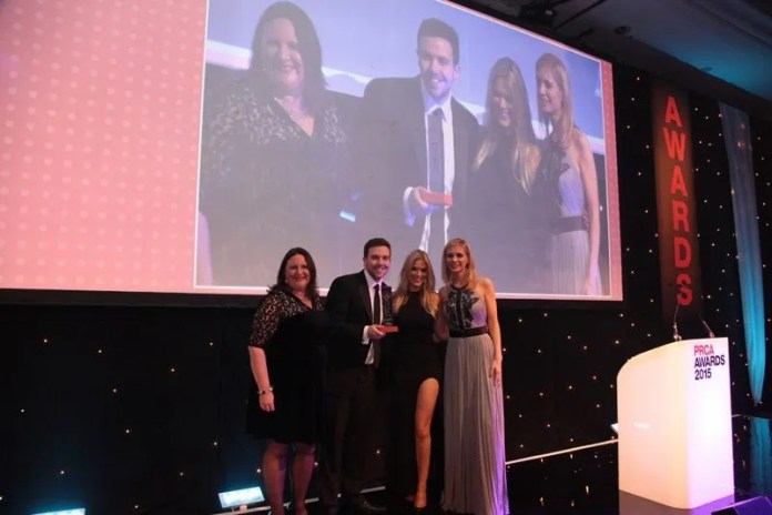 Category sponsor, Penny Anderson, from Precise, John Megaughin and Anna Morris from Clearbox with presenter, Rachel Riley 2