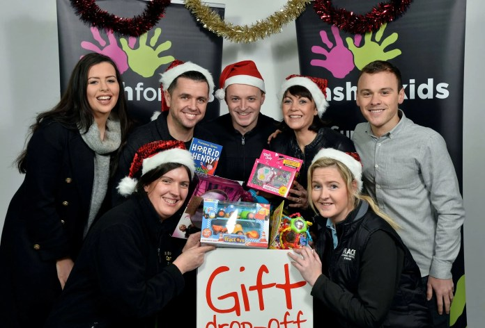 Press Release Image NO FEE Press Eye Ltd Monday 30th November 2015 Photographer Stephen Hamilton / Press Eye Local convenience retail brands Centra and Mace are supporting Downtown Radio and Cool FMÕs Cash for Kids Mission Christmas appeal by acting as Ôdrop off pointsÕ for gift donations until December 18. People are encouraged to purchase one extra gift and donate to allow vulnerable and disadvantaged children aged 0-17 years wake up to a present on Christmas morning. Announcing the partnership is (front row) Elizabeth Jamison of Centra Conlig and Debbie Adams of Mace Newtownards along with Cool FM BreakfastÕs Rebecca McKinney, Pete Snodden and Paulo Ross and Downtown Radio BreakfastÕs Gary Myles and Kirstie McMurray. Jennifer Higgins Communications Assistant Musgrave Retail Partners NI trading as Musgrave Northern Ireland