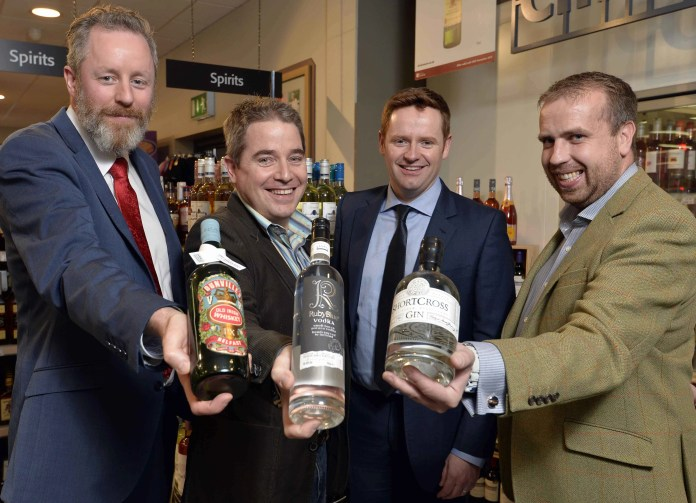 Shortcross Gin, Ruby Blue Vodka and DunvilleÕs Whiskey. This is the first off-licence chain in Northern Ireland to make the local craft spirits widely available across the province. Helping SuperValu/Centra Trading Manager, James McLornan (second right) launch the new additions to the premium spirits offering are (l-r) Jarlath Watson of The Echlinville Distillery in Newtownards, Stuart Hughes of Hughes Craft Distillery in Lisburn and David Boyd-Armstrong of Rademon Estate Distillery in Downpatrick