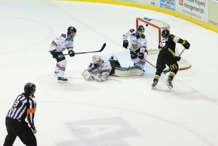 Mike Wilson on the attack during Saturday night's game in Nottingham for the Stena Line Belfast Giants Photo: Karl Denham