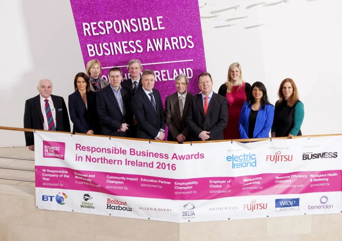 Launching the 2016 Responsible Business Awards in Northern Ireland are (from left): Terry Cross, Delta Packaging; Catriona Gibson, Arthur Cox; Jennifer Fulton, Ulster Wildlife Trust; Chris James, Fujitsu; Ian Garner, WRAP; Kieran Harding, Business in the Community; Alex Crossan, BT; Niall Dineen, Electric Ireland; Jenni Barkley, Belfast Harbour; Sonia Armstrong, Ulster Business and Helen Smith, Benenden. Applicants can apply online now at www.bitcni.org.uk and must submit their entries by Friday 25 March. Winners will receive their awards at a gala event on Thursday 2 June.