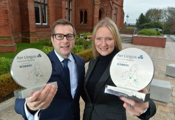 The search is on for the best in Belfast business as the 2016 Viscount Awards touch down   Belfast's high-flying companies and business people are being urged to get their entries in for the 2016 Aer Lingus Viscount Awards in association with Ulster Business. The awards, now in their eighth year, attract entries from the most dynamic, innovative businesses across Northern Ireland and this year the categories are: Innovator of the Year, Exporter of the Year, Best SME Award, Best Business Start-Up Award, Employee Champion Award, Business Person of the Year and the Award for Overall Excellence. Pictured at the launch of the Awards is David Elliott, editor of Ulster Business with Andrea Hunter, Business Development Manager at Aer Lingus in NI.