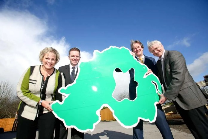 PUTTING CO TYRONE ON THE MAP.  firmus energy celebrates the connection of their first company in Co Tyrone, Mackle Petfoods based in Moy.  Pictured at the official switch on are Jenny Pyper, Chief Executive, Utility Regulator; Eric Cosgrove, Director of Engineering, firmus energy; Michael Scott, Managing Director, firmus energy and John Mackle, Managing Director, Mackle Petfoods.
