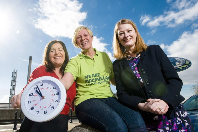Deirdre Armstrong; Paediatric MacMillan Clinical Nurse Specialist, Joanne Young; Fundraising Manager MacMillan Cancer Support and Karen Blair; Director Cleaver Fulton Rankin at The Royal Hospital Belfast. Picture: Elaine Hill