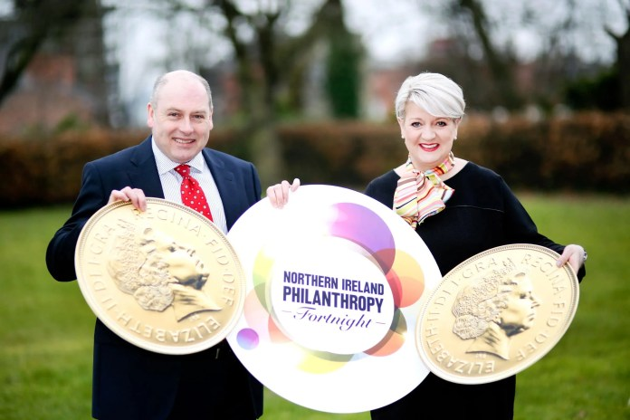 Eamonn Donaghy of The Community Foundation for Northern Ireland and Sandara Kelso-Robb of Giving Northern Ireland launch Philanthropy Fortnight, the annual celebration of charitable giving, which runs from April 18 to 29. The full Philanthropy Fortnight programme is available at: www.givingnorthernireland.org   Pic by Paul Moane / Aurora PA