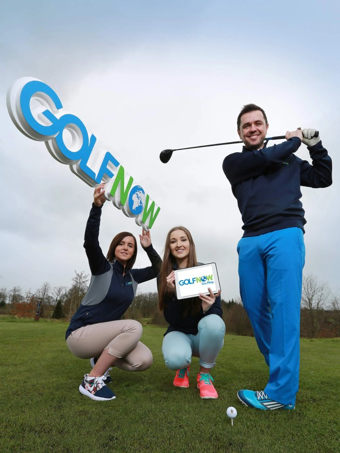 """Record numbers anticipated on Golf's Opening Day With the Masters just a day away, golfers around the globe will celebrate the unofficial start of a new season, while golfers in the U.K. and Ireland also will be anticipating 15 April – """"Golf's Opening Day"""" – the beginning of what local company GolfNow says is shaping up to be the busiest season to date. Brian Smith, vice president of International Sales for GolfNow, the No. 1 provider of online golf booking software in the U.K. and Ireland said: """"Golf's Opening Day is always the first weekend after the Masters and without a doubt is always one of our busiest days of the year """"This year, we are on par to beat all records, with an anticipated 14,000 rounds of golf booked for that day alone."""" Pictured practicing his game at Galgorm Castle Golf Club ahead of Golf's Opening Day is keen Golfer and local personality, Pete Snodden alongside Niamh Goodwin and Rachel Kane from Golf Now. To book a round of golf on Golf's Opening Day – Friday 15th April – visit www.GolfNow.com and use discount code """"GolfNow2016""""."""