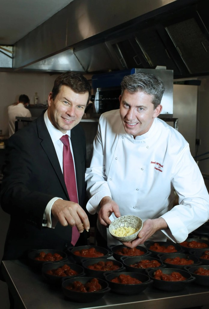 RECIPE FOR SUCCESS… Nigel Maxwell, SuperValu Sales Director, Musgrave NI, announces a new partnership with top, local chef Noel McMeel. The SuperValu Ambassador Chef partnership is part of a major investment by the leading foodmarket convenience brand into its local offering and will celebrate Northern Ireland's Year of Food and Drink. SuperValu is also undertaking a major upgrade of its 35 stores across Northern Ireland over the next 12 months which will see a significant increase in its fresh offering in store and a wider range of quality produce to appeal to all customers. For recipes, tips and advice on preparing and selecting the best local produce from the SuperValu Ambassador Chef Noel McMeel follow @SuperValuNI on Twitter.