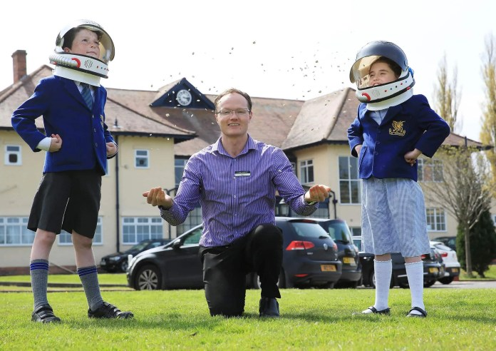 Alan Mercer, Managing Director of Hillmount Garden Centre, called into Downey House in South Belfast to give P5 pupils Adam McKnight (9) and Eva Chambers (8) equipment for their 'Rocket Science Experiment'.  The experiment is in partnership with the UK Space Agency and is backed by astronaut Tim Peake. www.hillmount.co.uk  Ends