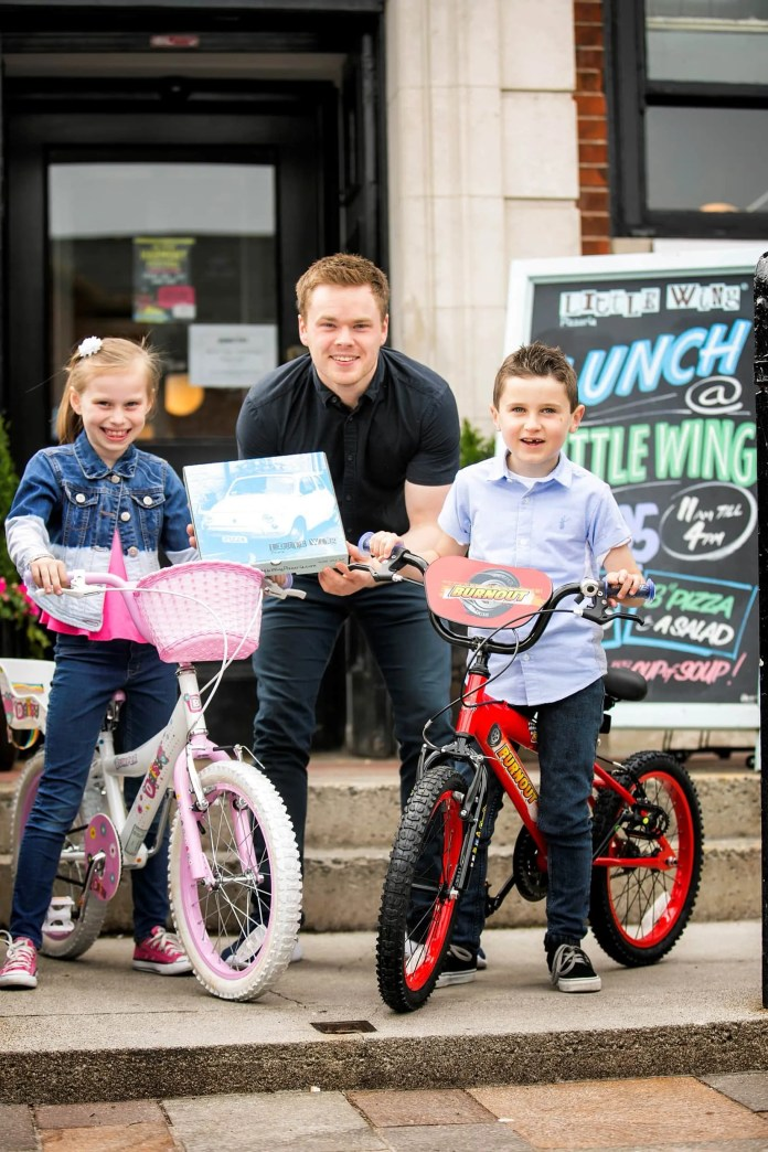 Get on your bike 1/2/3 Pictured l-r: Katie Douglas-Luke, age 8, Luke Wolsey, Managing Director of Little Wing and Oran Bennett, age 7 get in the cycling spirit. Northern Ireland's favourite pizzeria, Little Wing has launched an exciting 'Get On Yer Bike' Giveaway in celebration of Bike Week, offering six lucky children the chance to win brand new bikes across each of their six restaurants.  The popular home grown pizzeria group will give away one bike in each of its restaurants across Northern Ireland. Entry is simple – enjoy a tasty Little Wing pizza in any of the six locations, fill out a 'Get on Yer Bike' Giveaway flyer and you'll be entered into the draw to win. The competition will run for one month, from 15th June - 15th July, with winners being drawn week commencing 18th July. The competition launches on Wednesday 15th June to coincide with Bike to School Day, and is just another example of Little Wing's continuing dedication to its community and social responsibility.