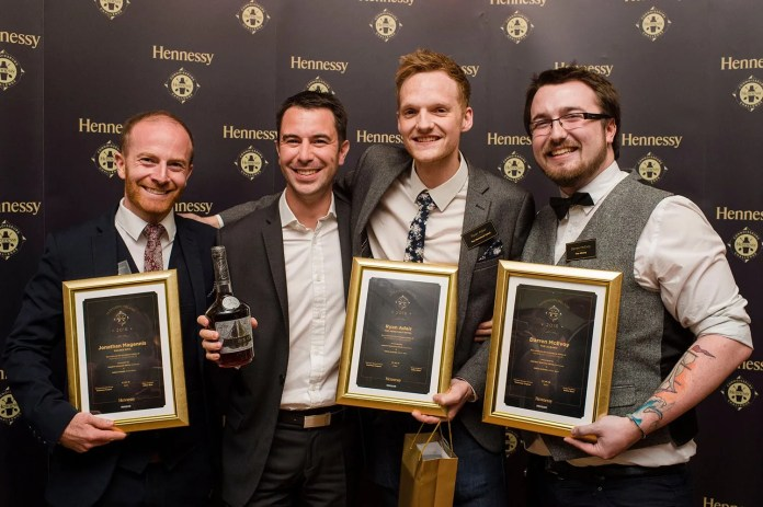 Vincent Borjon-Prive from Hennessy (2nd left) joins this year's Hennessy Connoisseurs winners Jonathan Magennis from Deanes EIPIC, Ryan Adair from The Merchant Hotel and Darren McEvoy from The Albany, Belfast.  Designed to uncover the movers and shakers in Northern Ireland's cocktail scene, the annual Hennessy Connoisseurs Challenge was created by drinks company Dillon Bass and took place in Belfast with eleven bartenders battling for the title.  Three local bartenders were awarded the prestigious title and won an impressive prize package which includes a VIP trip to Cognac to visit Maison Hennessy and Chateau Bagnolet, where they will receive one-on-one training, including a tasting with Hennessy's master blender. The Connoisseurs will also have the opportunity to have their signature drinks showcased by the brand.  Share your Hennessy NI stories on Facebook and Twitter using the hashtag, #HennessyNI