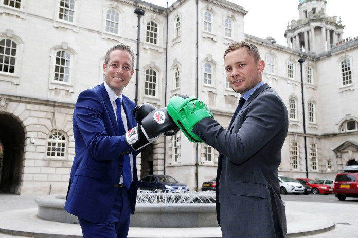 Press Release image - No Fee  Press Eye - Belfast - Northern Ireland - 14th August 2016   Sports Minister Paul Givan pictured with 2 time world champion Carl Frampton to announce  a funding package of up to £200,000 to help a number of amateur boxing clubs carry out capital works to improve their premises.   This funding will help three Belfast clubs Cairn Lodge ABC, City of Belfast ABC, Midland ABC and one Carrickfergus club, Castle ABC to develop their facilities in a bid to increase membership in their clubs, in particular amongst girls and women, who are currently under-represented in the sport.  Midland ABC is Carl Frampton's home club. Photo by Kelvin Boyes / Press Eye