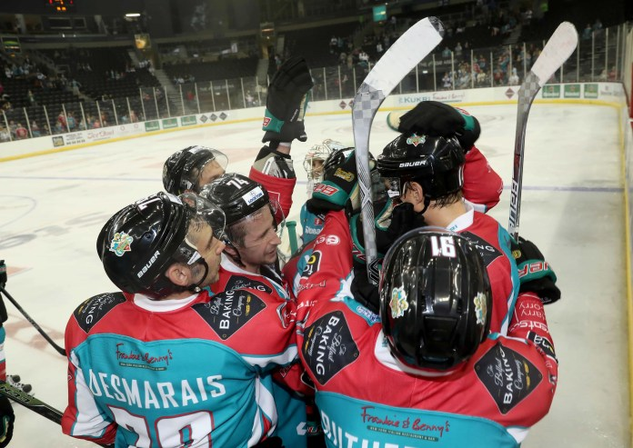 Press Eye - Belfast -  Northern Ireland - 17th September 2016 - Photo by William Cherry Belfast Giants players mob man-of-the-match Michael Forney during Saturday nights Challenge Cup game against Edinburgh Capitals at the SSE Arena, Belfast.