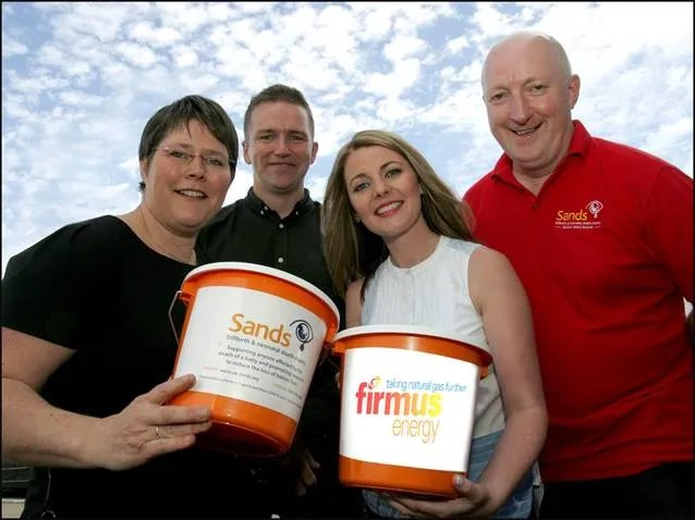 Sara McCloskey from Sands NI is pictured with Eric Cosgrove and Rochelle Magee  from firmus energy and Steven Guy, Sands NI, at the launch of the charity partnership.
