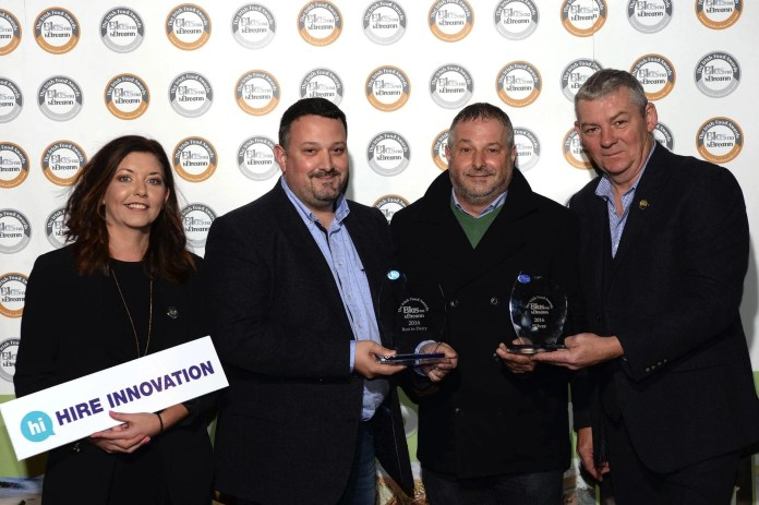 Arnadldo and Marino Morelli, Morelli's Ice Cream Colreine with Artie Clifford, Chairman and Gemma Browne, Hire Innovation at the Blas na hEireann / Irish Food Awards in Dingle at the weekend. Photo: Don MacMonagle REPRO FREE PHOTO WITH BLAS NA HEIREANN further info: Barbara Collins - collib40@googlemail.com