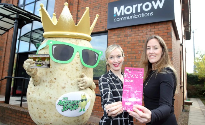 The Mighty Spud campaign picked up Gold for 'Best Use of Social Media' at the recent CIPR Pride Awards, considered to be the Oscars of the PR and Communications industry.  Pictured is The Mighty Spud alongside Sarah Stitt and Annette Small from Morrow Communications.
