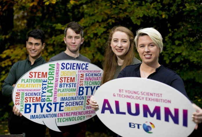 14112016. No Repro Fee. The BT Young Scientist & Technology Exhibition announced the BTYSTE Alumni Showcase, a new feature for 2017 which will see previous participants compete for the chance to exhibit their commercial ventures before an audience of up to 50,000 people at the Exhibition on 12th – 14th January 2017.  Pictured at the announcement in Dublin were from left: Danny Hobbs and James Eggers, both from BetterExaminations.ie with Rhona Togher and Eimear O' Carroll, both from Restored Hearing.  The competition is open to alumni of the BT Young Scientist & Technology Exhibition or BT Young Scientist Business Bootcamp who qualified for the Exhibition itself and went on to incorporate a company based on their BTYSTE project. Go to www.btyoungscientist.com/alumni for more information. Chris Bellew / Fennell Photography